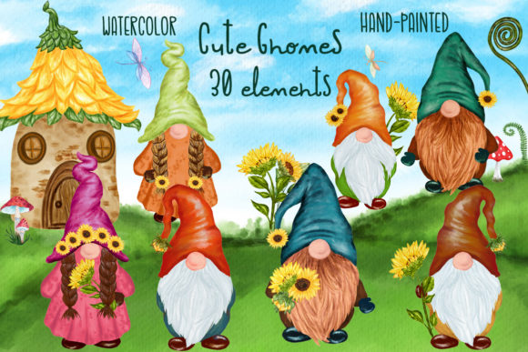 Cute Gnomes Clipart Forest Gnomes Graphic