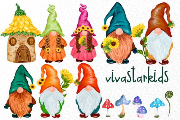Cute Gnomes Clipart Forest Gnomes Graphic Download