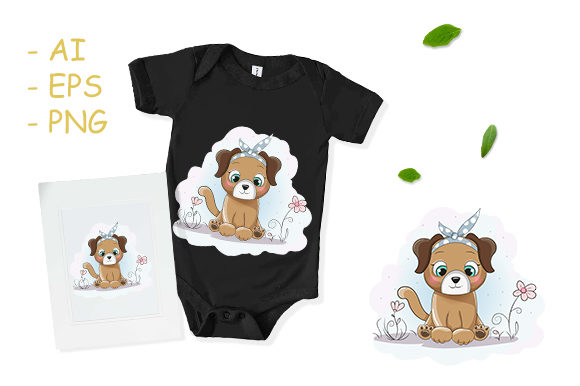 Cute Cartoon Puppy Girl with a Bandana Graphic Print Templates By dinomikael01
