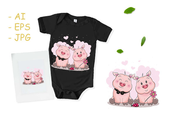Cute Piggy Cartoon Couple with Flower Graphic Print Templates By dinomikael01