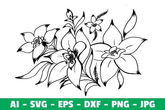 Print on Demand: Flower Clipart Silhoutte  Graphic Crafts By Girinesia