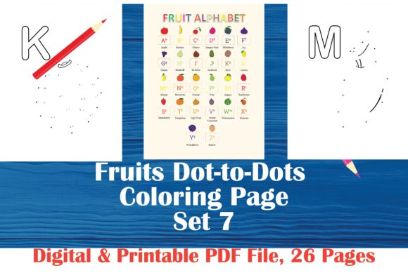 Fruits Dot-to-dots Graphic Coloring Pages & Books Kids By MidasStudio