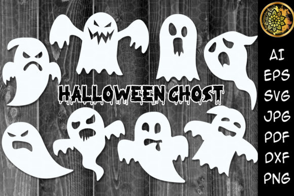 Halloween Ghosts Silhouette  Grafik Illustrationen von V-Design Creator