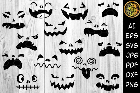 Print on Demand: Halloween Pumpkin Faces  Graphic Illustrations By V-Design Creator