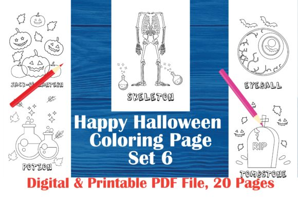 Happy Halloween Printable Coloring Page Graphic Coloring Pages & Books Kids By MidasStudio