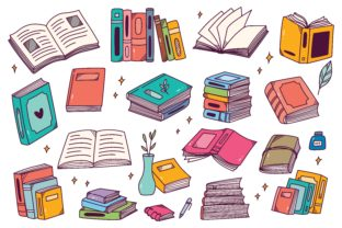 Set of Hand Drawn Books in Doodle Style Graphic Illustrations By Big Barn Doodles