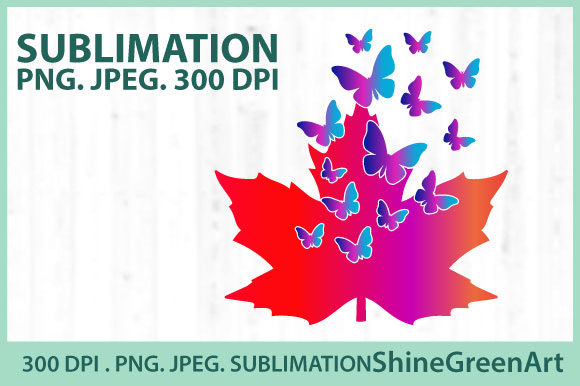 Print on Demand: Sublimation - Fall Butterfly Oak Leaves Graphic Illustrations By ShineGreenArt