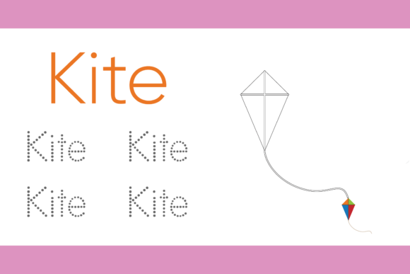 Tracing and Coloring for Kids Kite Graphic