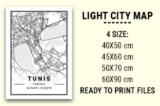 Print on Demand: Tunis Light City Map Graphic Photos By tienstencil