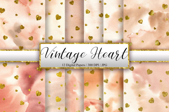 Vintage Heart Glitter Digital Papers Graphic Backgrounds By PinkPearly