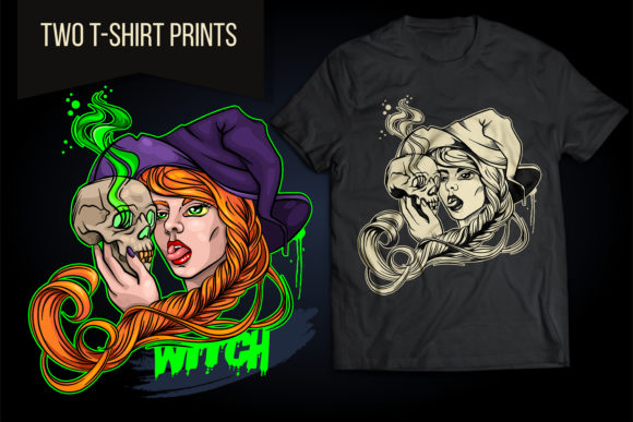 Witch with Magic Skull Halloween Vector Graphic Illustrations By LaLaFa