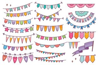 Cute Bunting Flag in Doodle Style Vector Graphic Illustrations By Big Barn Doodles
