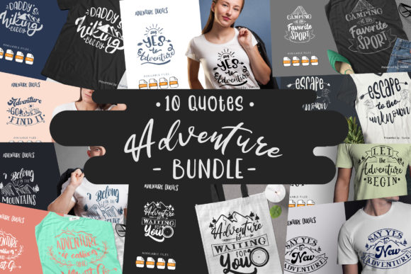 Print on Demand: 10 Adventure Bundle | Lettering Quotes Graphic Crafts By Vunira
