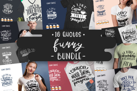 Print on Demand: 10 Funny Bundle | Lettering Quotes Graphic Crafts By Vunira