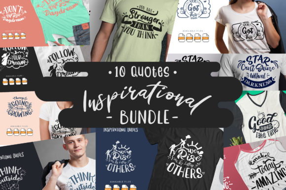 Print on Demand: 10 Inspirationa Bundle | Lettering Quote Graphic Crafts By Vunira