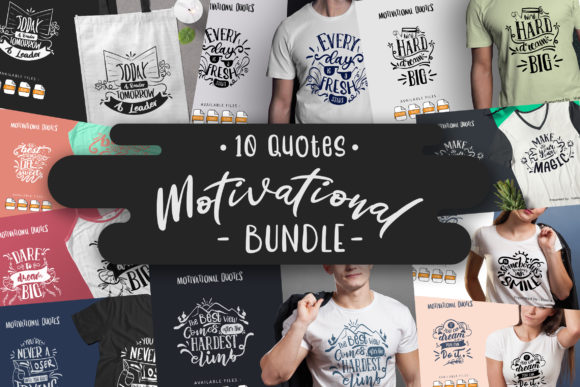Print on Demand: 10 Motivational Bundle | Lettering Quote Gráfico Crafts Por Vunira