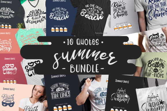 Print on Demand: 10 Summer Bundle | Lettering Quotes Grafik Plotterdateien von Vunira