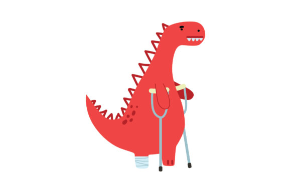 Dinosaur on Crutches Dinosaurs Craft Cut File By Creative Fabrica Crafts