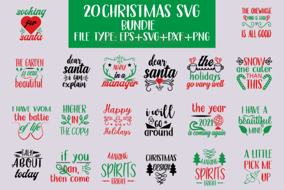 20 Christmas Designs Bundle Graphic Crafts By creative store.net