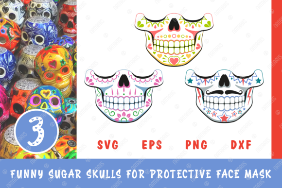 3 Funny Sugar Skulls for Face Mask Graphic Crafts By Natariis Studio