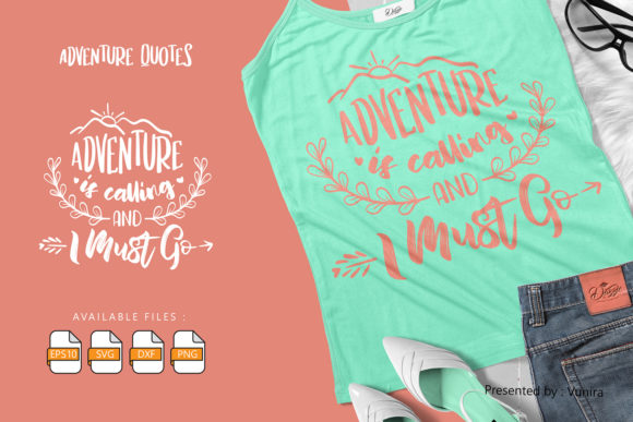 Print on Demand: Adventure | Lettering Quotes Grafik Plotterdateien von Vunira