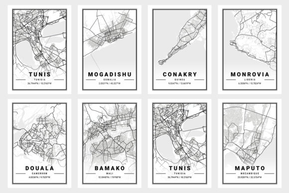 Print on Demand: Africa Light City Map Bundle  By tienstencil