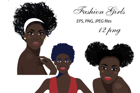 Print on Demand: African American Fashion Girl Clipart Graphic Illustrations By ElenaZlataArt