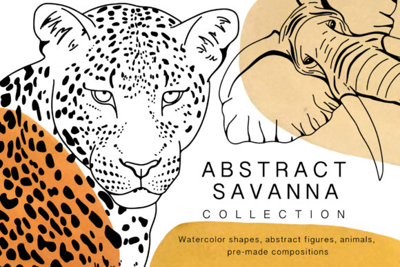 African Animals. Line Art Collection Graphic Illustrations By Vera Vero