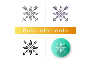 Print on Demand: Arrows and Feathers Amulet in Boho Style Graphic Icons By bsd studio