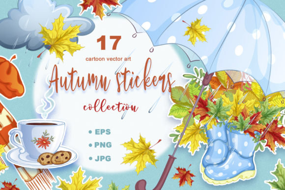 Autumn. Collection of Vector Stickers Graphic Illustrations By Maycat