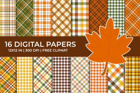 Autumn Plaid Digital Papers Set Graphic Backgrounds By TitaTips