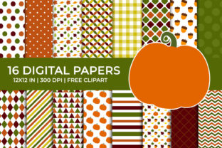 Autumn Pumpkin Paper, Fall Leaves, Acorn Graphic Backgrounds By TitaTips