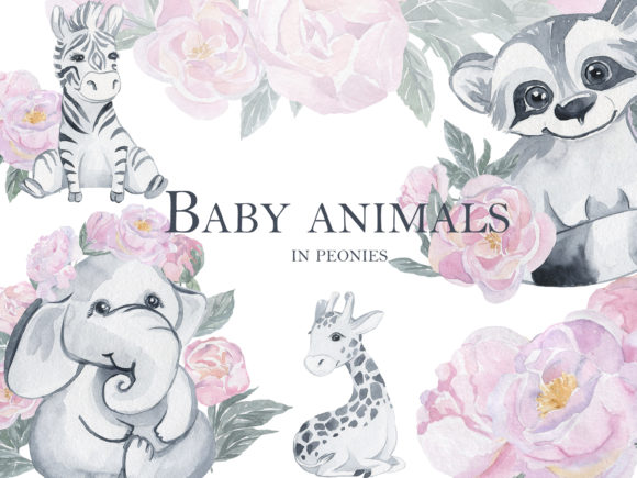 Print on Demand: Baby Animals in Peonies Grafik Illustrationen von laffresco04
