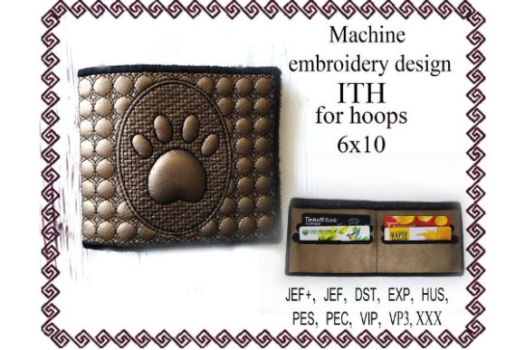 Billfold ITH Purse Paw Sewing & Crafts Embroidery Design By ImilovaCreations