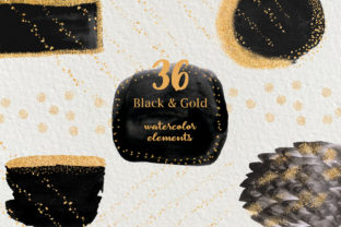 Black & Gold Watercolor Shapes Graphic Objects By liquid amethyst art