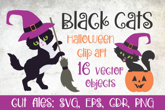 Print on Demand: Black Cats. Halloween Clip Art Graphic Illustrations By Olga Belova