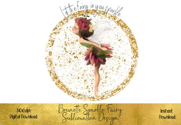 Brunette Fairy Sublimation Design Graphic Illustrations By STBB