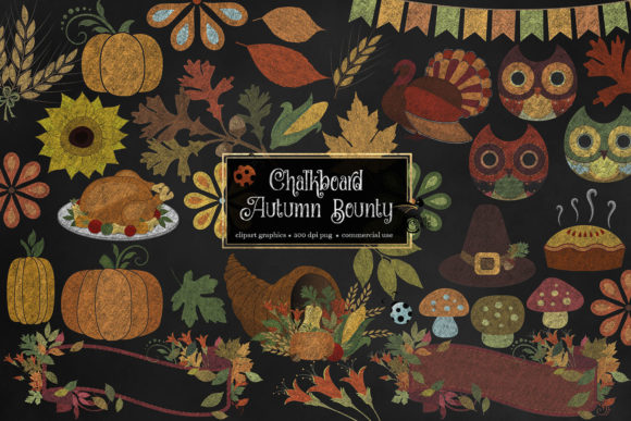 Print on Demand: Chalkboard Autumn Bounty Clipart Graphic Illustrations By Digital Curio