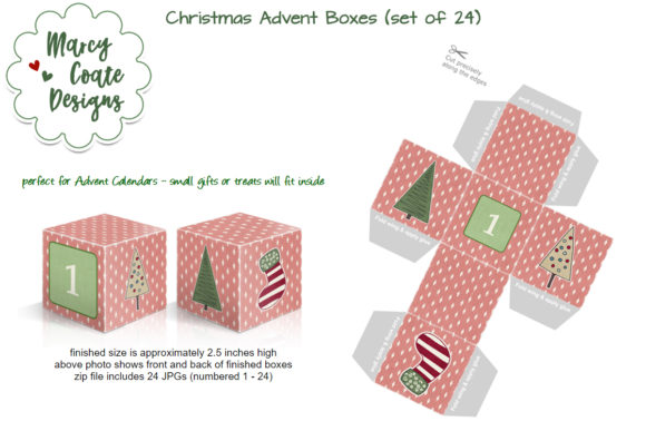 Christmas Advent Boxes - Printable Craft Graphic Crafts By MarcyCoateDesigns