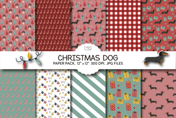 Christmas Dogs Digital Paper Pack, Xmas Graphic Patterns By Nina Prints