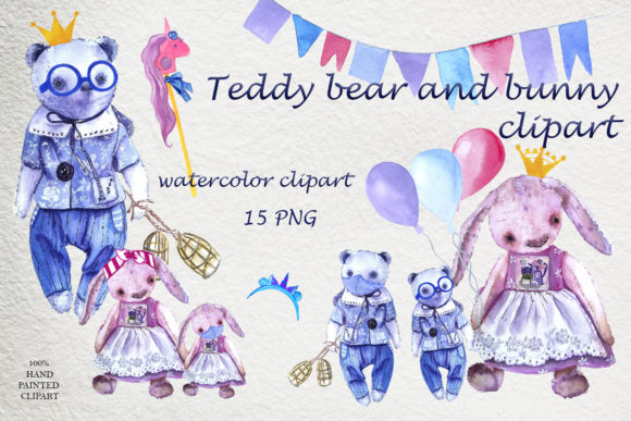 Clipart Pink Rabbit and Blue Bear Graphic Illustrations By ElenaZlataArt
