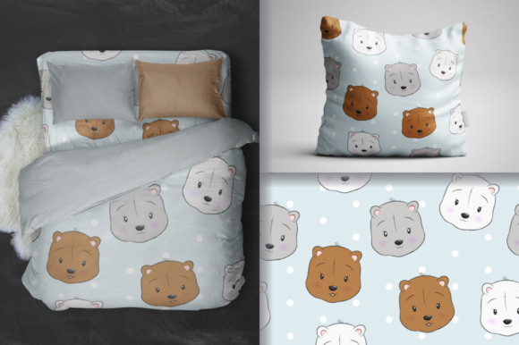 Cute Bear Head Seamless Pattern Graphic Patterns By dinomikael01