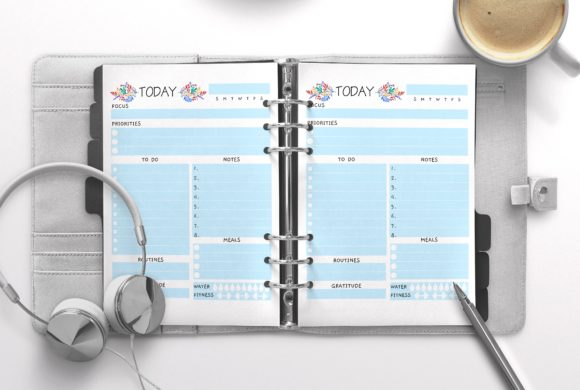 Daily Planner Letter Blue 100 Pages Graphic KDP Interiors By Nickkey Nick