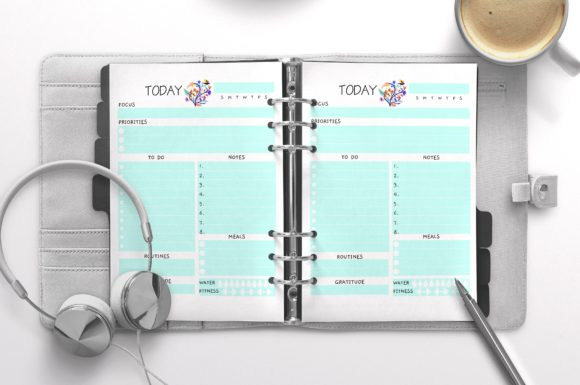 Daily Planner Letter Turquoise 100 Pages Graphic KDP Interiors By Nickkey Nick