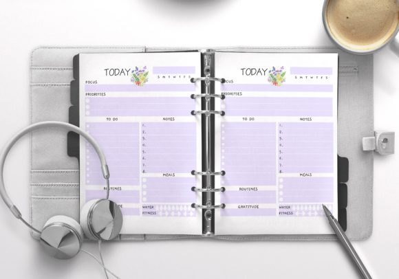 Daily Planner Letter Violet 100 Pages Graphic KDP Interiors By Nickkey Nick