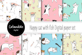 Digital Paper Cat with Fish Graphic Patterns By CatAndMe