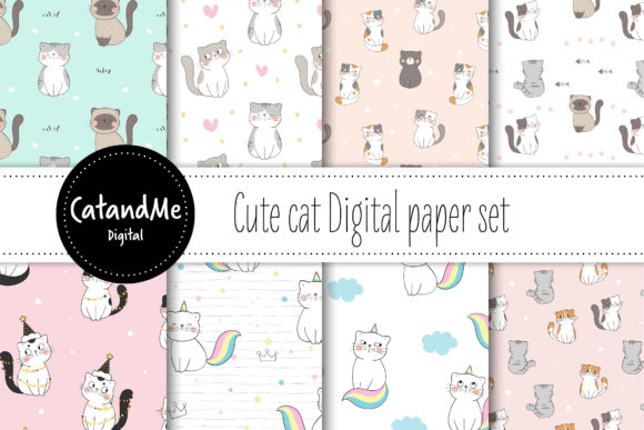 Digital Paper Cute Cats Graphic Patterns By CatAndMe