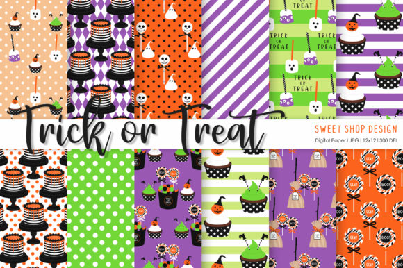 Digital Paper Trick or Treat Graphic Illustrations By Sweet Shop Design