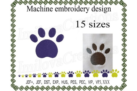 Dog Paw Dogs Embroidery Design By ImilovaCreations