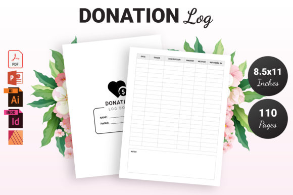 Print on Demand: Donation Log Book - KDP Interior Graphic KDP Interiors By KDP Ninja